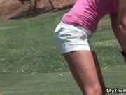 Hot big tits Latina girl gets fucked hard after golfing