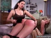 Attractive blonde gets bent over knees and spanked 3 by