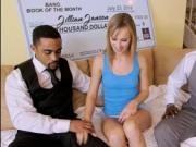 Juicy ass blonde Jillian Janson takes two giant black d