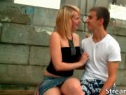Awesome sexy blonde babe Fiona making out with horny bo