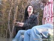 Slutty hot brunette bitch smoking and stripping by Mina