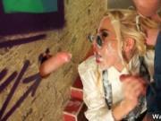 Hot blonde babe gets her face jizzed hard by WavesOfSli