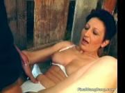 Sexy brunette MILF blows stiff cock and gets pounded up