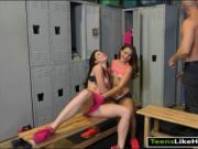 Two tight teen babes threesome session in locker room