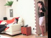 Horny brunette MILF blows young stiff rod 1 by RipeThro