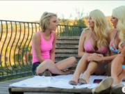 Busty milf Summer and a teen pussy licking in the balco