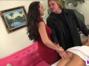 Teen spinner Jenna Leigh rides dick while stepmom sucki