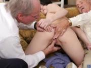 Skinny babe Alex Harper fucking with 2 grandpas