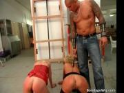 Two horny girls are bent over and getting spanked and w