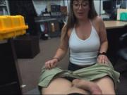 Woman with glasses fucked by pawn guy
