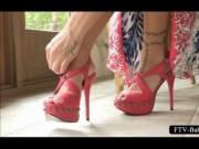 Teenage busty babe fucks her pussy with a shoe heel