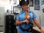 Massive tits police officer pawns her vagina and smashe