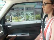 Nerd teen Tali Dava banged in the backseat by stranger