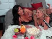 Slutty dark haired and blond mother having crazy in hor