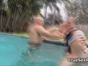 Hot bikini foursome in the pool