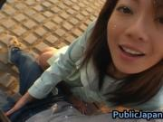 Juri Wakatsuki Hot Asian model gives a blowjob on the s