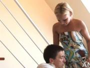 Hot mom moans with deep fucking