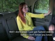 Nasty amateur redhead customer nailed in the backseat
