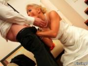Sexy blonde babe goes crazy sucking on an hard cock by
