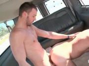 Naked straight dude drilling gay ass on the bus floor
