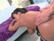 Huge ass oily MILF riding strong horny cock on the couc