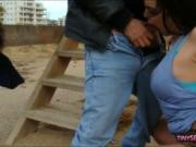 Busty whore pounded in public location