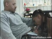 Nasty ebony hoe gets her tight wet cunt licked by Hairy