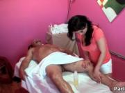 Cute asian babe gets horny jerking a guy by ParlorSurpr