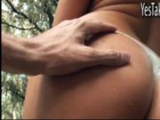 Blonde GF gets a pussy fuck in the park