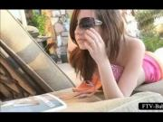 Outdoor clit rubbing scene with hot girl tanning