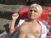 Pretty Czech girl nailed in public and facialed for mon