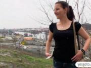 Amateur brunette Czech girl Iveta flashes and public fu