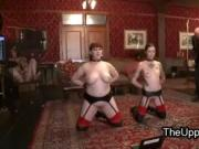 Lesbian house slaves in the upper floor in bndage with