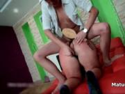 Young boy spanking a fat mature housewife hard while fu