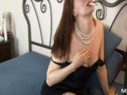 Horny melons brown haired slut undressing and masturbat