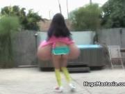 Asian brunette slut plays tennis and sticks her racket