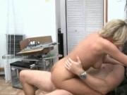 Sex addict blonde MILF pussy banged hard over the desk