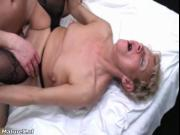 Nasty blonde mature whore goes crazy sucking on an hard