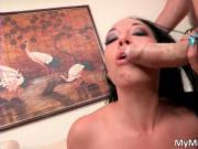 Nasty brunette slut Rio Lee sucks hard cock and gets po