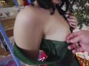 Lucie Cline fucks by the Christmas tree