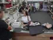Little Latina stewardess wants to sell a luggage and ge