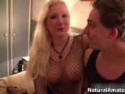 Blonde milf with big tits showing her sex skills by Nat