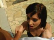 Skanky pornstar Milka in sexy black lingerie double pen