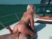 Hot blonde babe gets her tight ass banged hard in a 3so