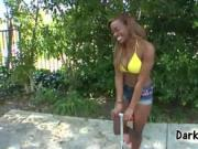 All Natural Ebony Breasts In Bikini Gives Outdoor Blowj
