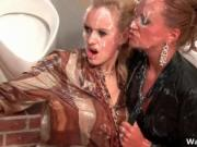 Nasty blonde sluts go crazy sucking on an hard cock and
