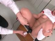 Japanese schoolgirl gets her holes toyed and fucked