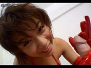 Pretty asian in red doing handjob