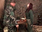 Exciting red haired getting whipped by soldier 2 by biz
