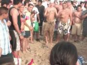 Hard party time on the beach and babes showing how nice